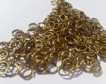 AR=8, 100 g of Saw-cut brass jump rings,