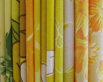 vintage fabric charm pack of 12 6 x 6 inch squares (yellows)