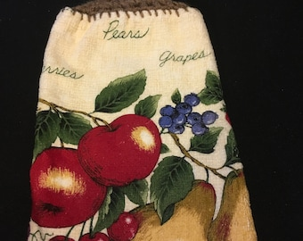 Fruit with Words Double Sided Kitchen Hand Towel Brown 2