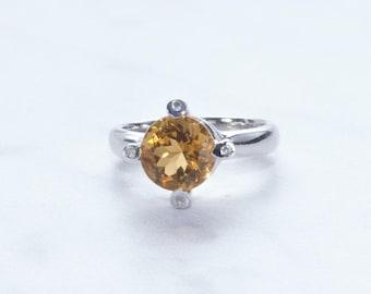 Citrine Gemstone Ring  Set in Sterling Silver
