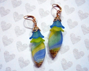 Yellow and Light Blue Swirled Glass Earrings (2821)