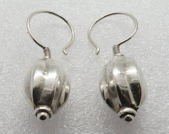 Tribal Earrings 925 Sterling Silver Handmade Ear Hoops Melon shape