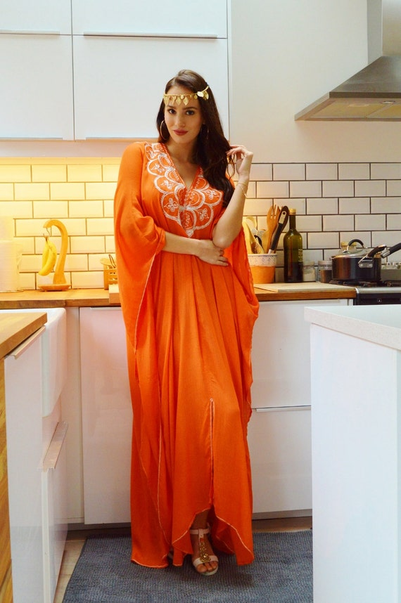 Trendy New Orange Agadir Embroidery Beach Wedding Gown Caftan Kaftan -cover ups, beach wedding,maxi dresses,honeymoon, maternity gifts