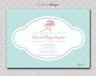 Shabby Chic Baby Shower Bridal Shower Invitation - Flower Floral Gender Neutral Invite Printable - 5x7 digital file