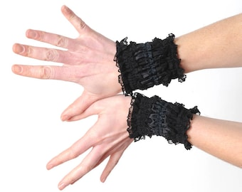 Black ruffled cuffs, short black bracelet cuffs, with lace and ribbon
