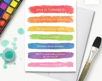 rainbow paint party birthday invitation, girls art party printable invitation, rainbow birthday invite 5x7 jpg pdf 903