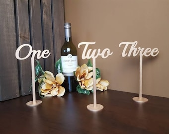 "Gold Table Numbers for Wedding | Wood Table Numbers | Laser Cut Table Numbers With Base | Wedding Decor | 8"" Tall 