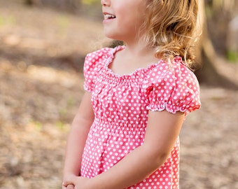 toddler tunic top- tunic- easter clothing-girls polka dot top- baby top- girls spring outfit-coral-girls clothing-girls peasant top