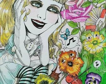 Alice in wonderland, garden of singing flowers, Dame Darcy, Hand