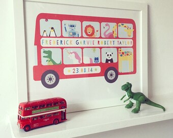 Personalised bespoke Bus kids art print