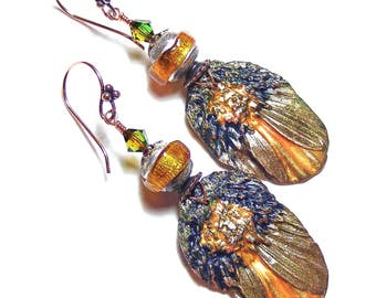 Organic Gilded Petal Earrings, Handcrafted Polymer Clay, Unique Wearable Art, Copper Gold & Topaz Jewellery, OOAK (One of a Kind)
