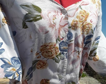 1980s floral print dress