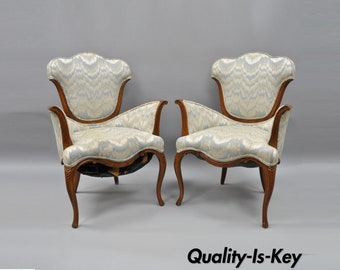 Pair of Vintage Hollywood Regency Armchairs Sculptural Dorothy Draper French Style