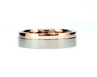 Wide rose and white gold wedding ring, modern wedding band, unique men's ring, wide, man rose gold, men two tone, white gold, contemporary