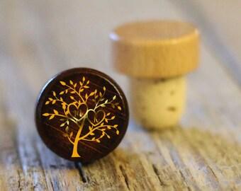 BEST PRICE ** Lot of Personalized Custom Wine Stopper, Laser Engraved Cork Bottle Topper, Reusable Rustic Wedding Favor --WS-dg-mkTree