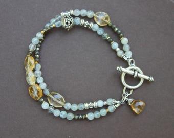 Aquamarine Citrine Pyrite Gem Silver Double Strand Handcrafted Bracelet Sundance Style