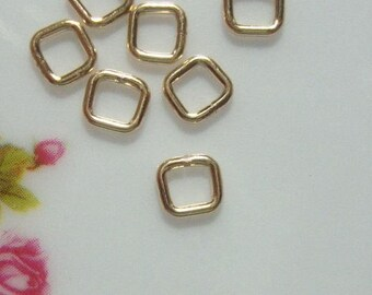 10, 50 pcs, 4mm, 20.5ga gauge, 14K Gold Filled Square Closed Jump Rings