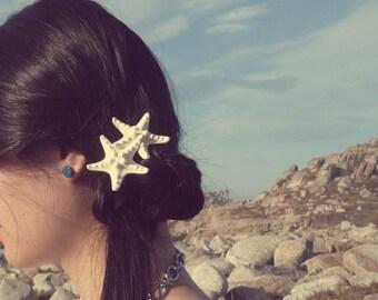 Double Starfish Barrette Mermaid Hair Clip Bride Bridal Bridesmaid Ariel Nautical Destination Beach Wedding Accessories Womens Gift Summer