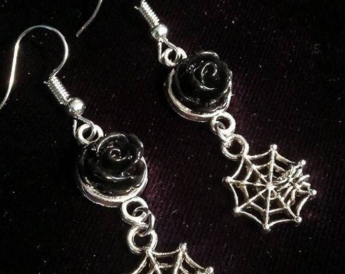 Spiderweb black rose earrings - spiderweb spider thecure gothic blackrose rose black witch wicca