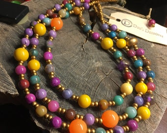 Necklace Colorful three strand multi stone beaded necklace