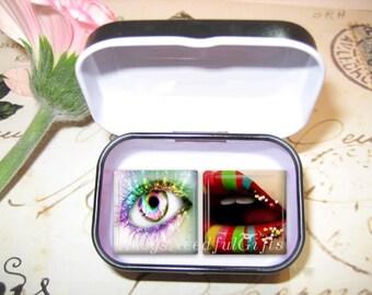 Set of 2 Glass Tile Magnets,  Fridge Magnets in gift tin, Eye and Lips,  Best friends gift, Hostess Gift, SET OF 2.