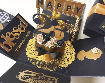 Custom 23rd handmade explosion black and gold box card