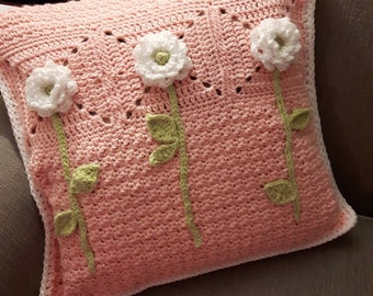 Crochet Floral Pillow Cover