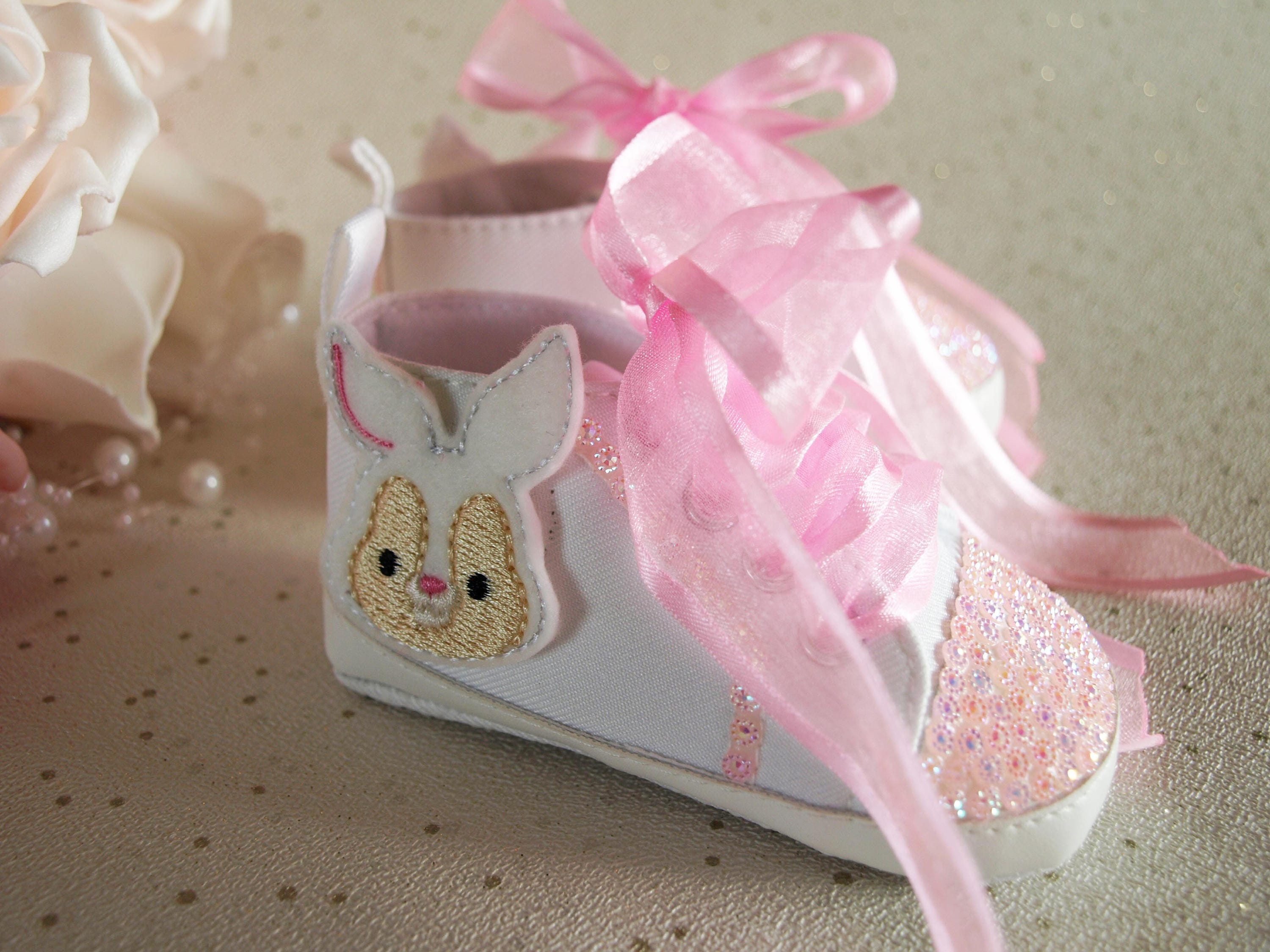 Gorgeous White Pink Sparkly Baby Girls Shoes Reborn White