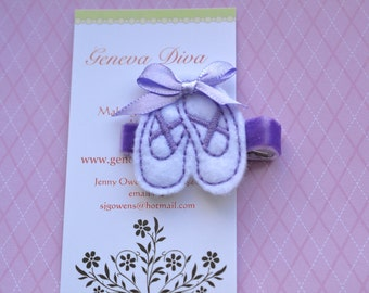 Ballet Shoes....Embroidered Felt Hairclip in Lavender