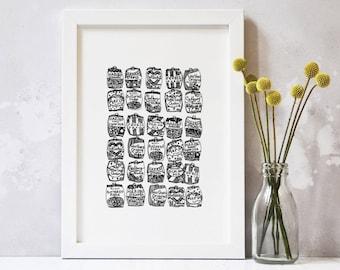 Sweet Print – Kitchen Art – Food Art – Gift for Foodie – Gift for Him – Sweet Art – Gift for Sweet Lover