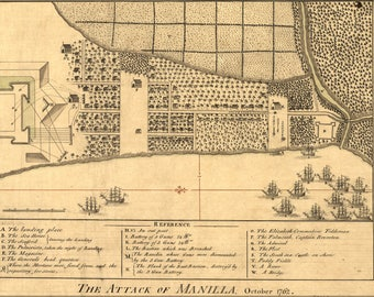 Poster, Many Sizes Available; Map Of Attack Of Manilla, Philippines October 1762