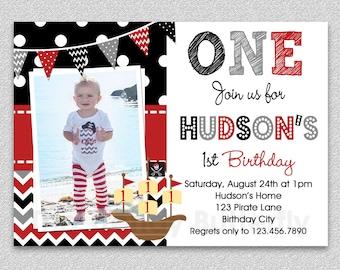 Pirate Birthday Invitation , Boys Pirate Birthday Invitation , Pirate Birthday Party Invitation,  1st Birthday Invitation, Pirate Party