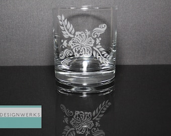 Set of 4 Hand Etched Premium Hawaiian Flower Whiskey Bourbon Rocks Glasses