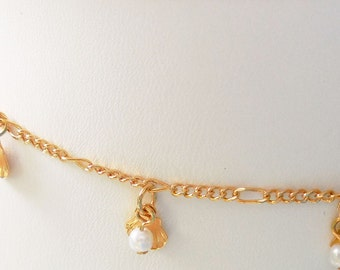 Seashells and Pearls on a 24kt Heavy Gold Plated Chain with Matching Earrings
