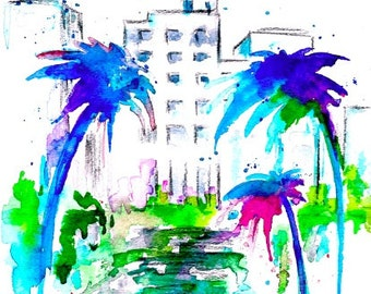 Art Deco Miami Print, Giclee from Original Watercolor Painting, Modern Home Decor, Abstract  Wanderlust, Travel Mementos, Miami Vibes