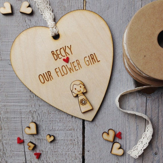 Flower Girl gift heart - Bridesmaid gift - personalised flower girl gift