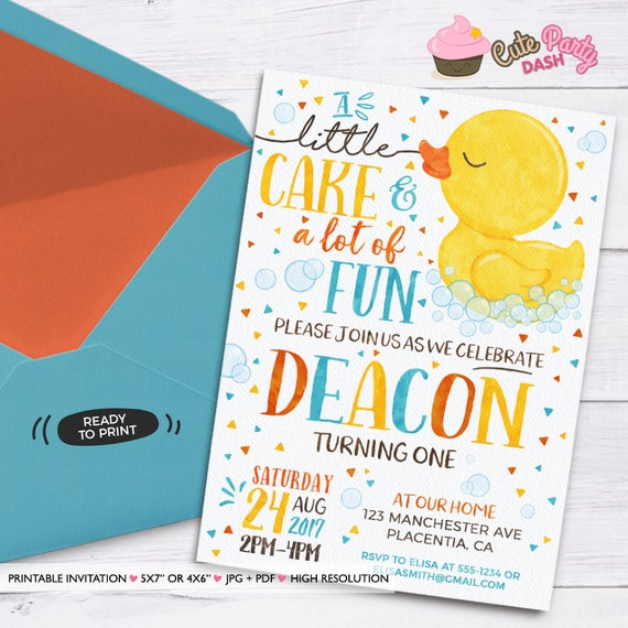 Rubber ducky birthday invitation yellow rubber duck birthday like this item filmwisefo Image collections