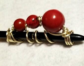 Red Ceramic Bead Braid or Loc Jewelry