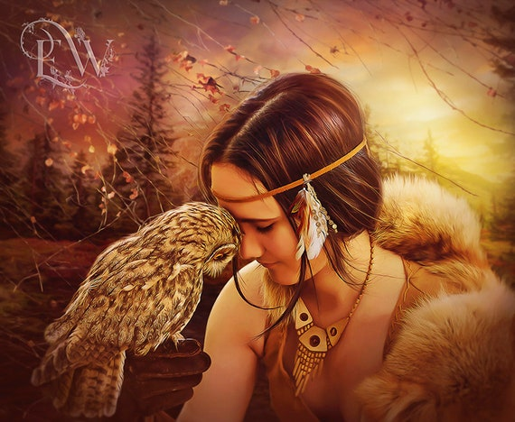 Native woman with owl art print