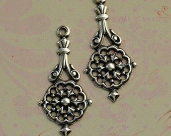 2 Silver Drop Charms 1621