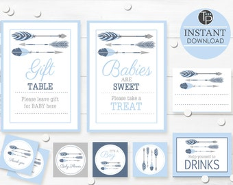 TRIBAL BABY SHOWER Printable, Boy Baby Shower, Tribal Gift Table Sign, Printable Baby Shower Table Signs, Navy Tribal Arrow Baby Shower