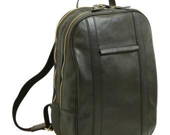 Leder Rucksack Schwarz für 13 Zoll Laptop aus Italienischem Leder - Laptoptasche - Schulrucksack - Schulranzen - Leder Laptop Tasche