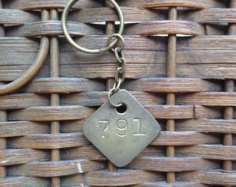 Vintage Brass Tag Industrial Number Tag Steampunk Number Key Chain #791
