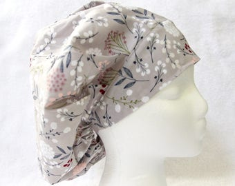 Bouffant Surgical Scrub Hat, Scrub Cap for Woman, Ties into a Ponytail Scrub Hat. Grey, white, pink, leaves, vines