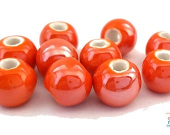 Orange: 10 pearls 8-9mm (pc117) glazed ceramic
