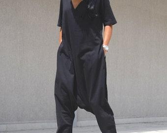 Maxi jumpsuit, drop crotch jumpsuit, harem jumpsuit, plus size jumpsuit, overall dress, jumpsuit women, overall women, women jumpsuits