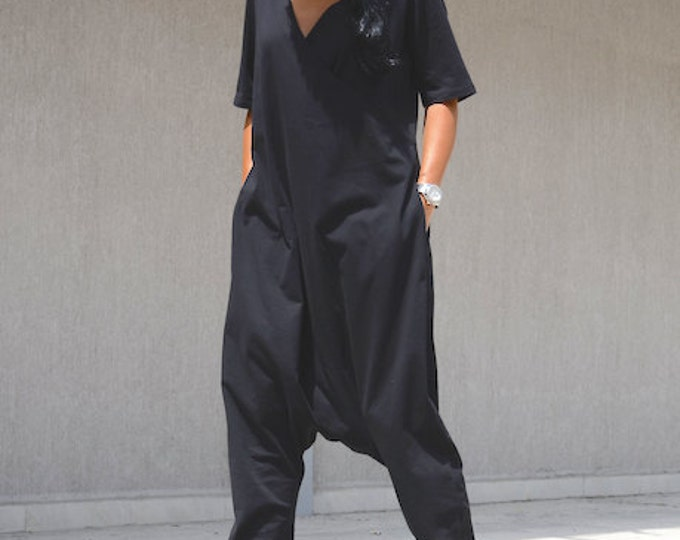 Featured listing image: Maxi jumpsuit, drop crotch jumpsuit, harem jumpsuit, plus size jumpsuit, overall dress, jumpsuit women, overall women, women jumpsuits
