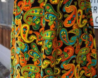 60s Velvet Psychedelic Maxi Skirt, Hippie Velvet Maxi Skirt, 60s Neon Velvet Skirt, Flower Power Neon Maxi Skirt, 60 Velvet Neon Psychedelic
