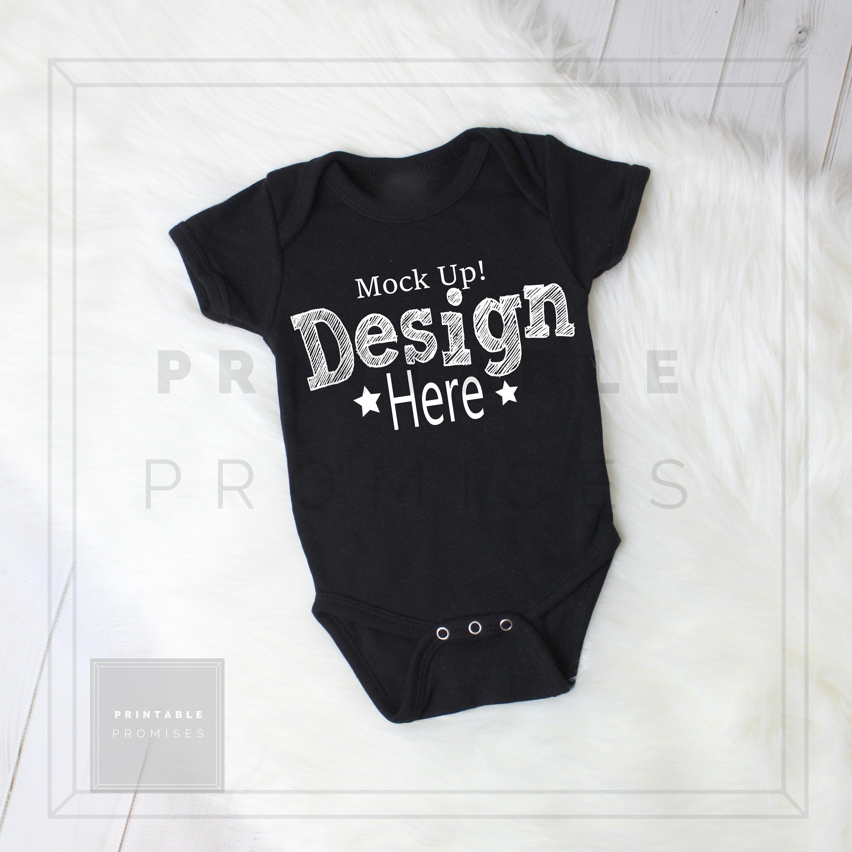 Black Baby Bodysuit Mockup Bodysuit Mockup Baby Shirt