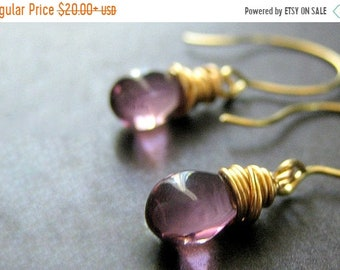 MOTHERS DAY SALE 14K Gold Wire Wrapped Earrings - Orchid Purple Teardrop Earrings. Handmade Jewelry.